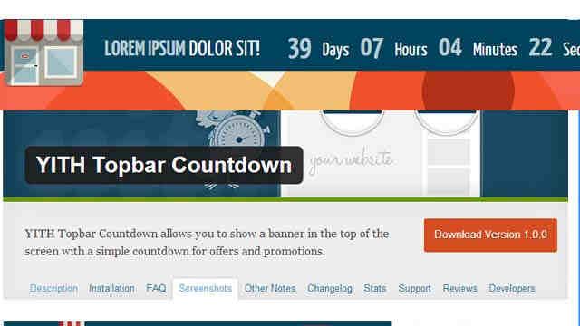 YITH Topbar Countdown отсчет для Wordpress