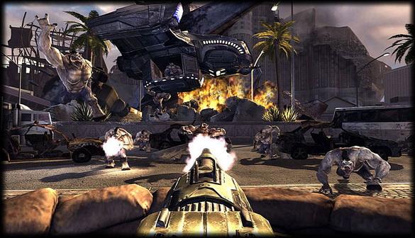 Дюк Нюкем за стационарным пулеметом ведет огонь по врагам человечества