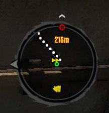 Радар Dead Island, указано расстояние до цели