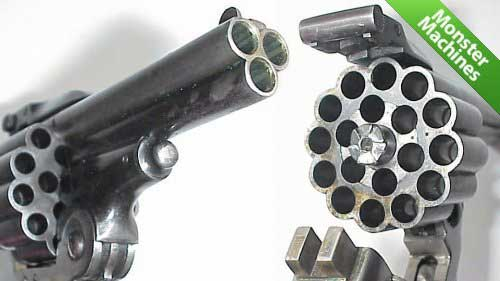 Револьвер с тремя стволами барабан