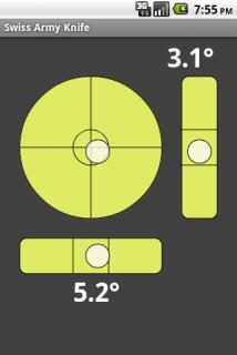 Swiss Army Knife на Android пузырьковый уровень