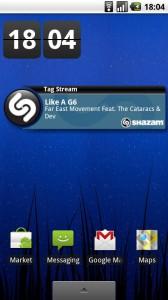 Виджет Shazam. Определяет мелодию на Android.
